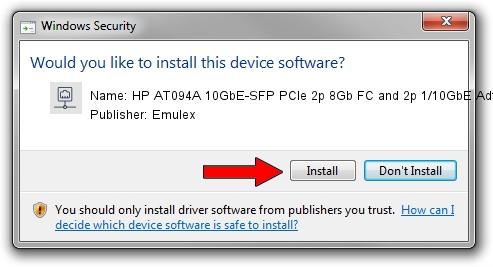 Emulex HP AT094A 10GbE-SFP PCIe 2p 8Gb FC and 2p 1/10GbE Adtr setup file 647117
