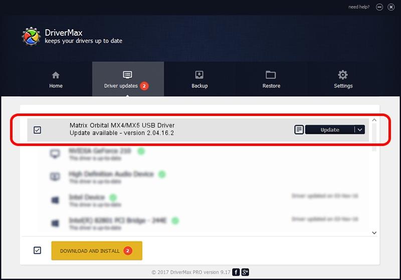 FTDI Matrix Orbital MX4/MX5 USB Driver driver update 1387353 using DriverMax
