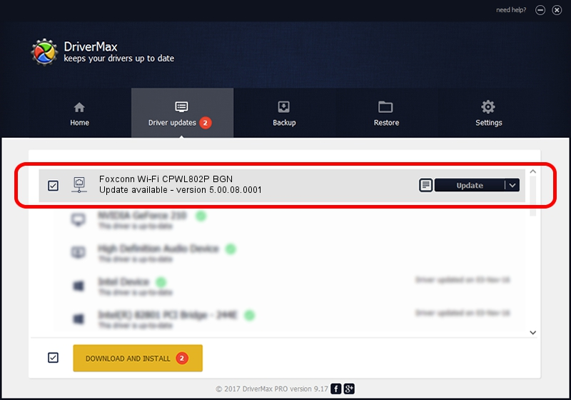 Foxconn Foxconn Wi-Fi CPWL802P BGN driver update 1506250 using DriverMax