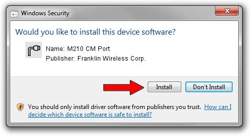 Franklin Wireless Corp. M210 CM Port driver installation 1411430