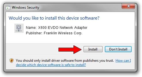 Franklin Wireless Corp. X600 EVDO Network Adapter driver installation 1504642