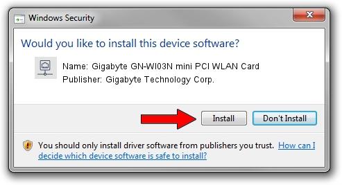 Gigabyte Technology Corp. Gigabyte GN-WI03N mini PCI WLAN Card setup file 1156891
