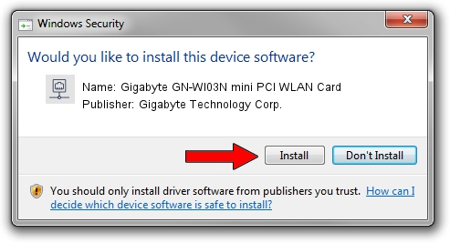 Gigabyte Technology Corp. Gigabyte GN-WI03N mini PCI WLAN Card setup file 578147