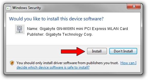 Gigabyte Technology Corp. Gigabyte GN-WI06N mini PCI Express WLAN Card setup file 18535
