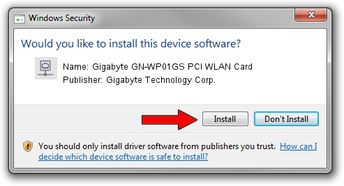 Gigabyte Technology Corp. Gigabyte GN-WP01GS PCI WLAN Card setup file 1212107