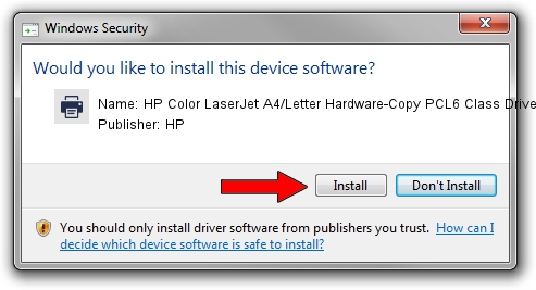 HP HP Color LaserJet A4/Letter Hardware-Copy PCL6 Class Driver driver installation 1381713