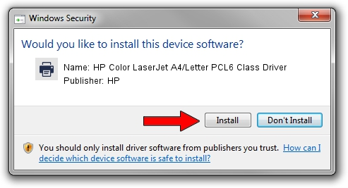 HP HP Color LaserJet A4/Letter PCL6 Class Driver setup file 1400720