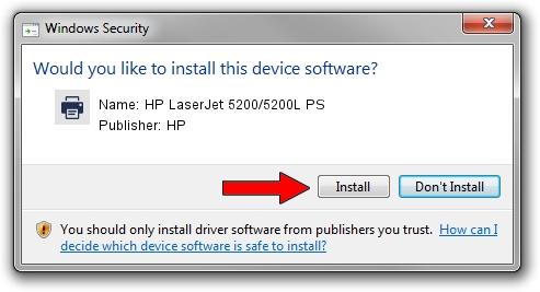 HP HP LaserJet 5200/5200L PS driver installation 1382314
