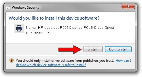 HP HP LaserJet P205X series PCL6 Class Driver setup file 1400684
