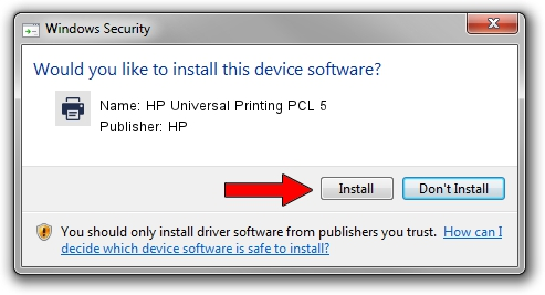 HP HP Universal Printing PCL 5 driver installation 67550