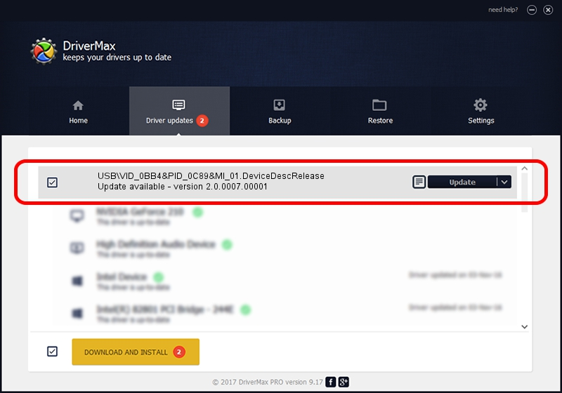 HTC, Corporation USB\VID_0BB4&PID_0C89&MI_01.DeviceDescRelease driver update 1053685 using DriverMax