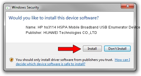 HUAWEI Technologies CO.,LTD HP hs3114 HSPA Mobile Broadband USB Enumerator Device driver installation 17861