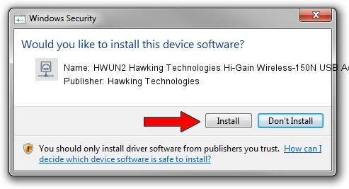 Hawking Technologies HWUN2 Hawking Technologies Hi-Gain Wireless-150N USB Adapter w/ Upgradable Antenna driver installation 985291