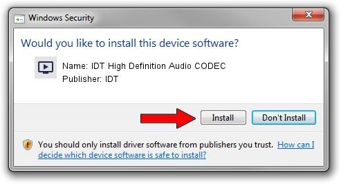 IDT IDT High Definition Audio CODEC driver installation 1394988