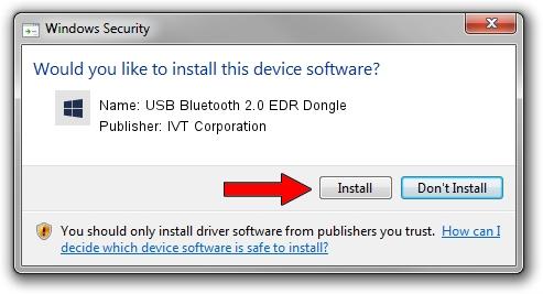 IVT Corporation USB Bluetooth 2.0 EDR Dongle setup file 986386