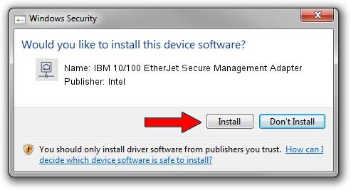 Intel IBM 10/100 EtherJet Secure Management Adapter driver installation 1425115