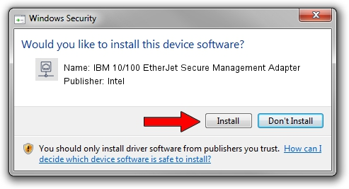 Intel IBM 10/100 EtherJet Secure Management Adapter driver installation 1425116
