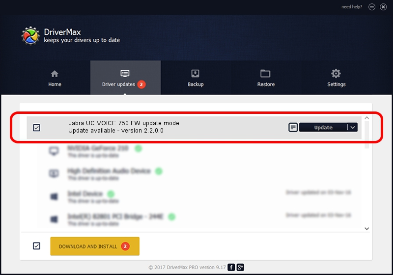 Jabra Jabra UC VOICE 750 FW update mode driver update 1421347 using DriverMax
