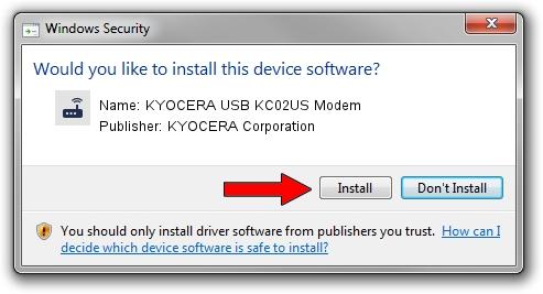 KYOCERA Corporation KYOCERA USB KC02US Modem driver installation 1412488
