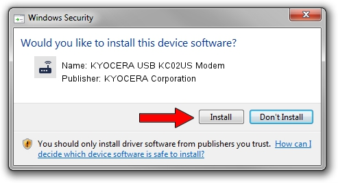 KYOCERA Corporation KYOCERA USB KC02US Modem driver installation 1412661