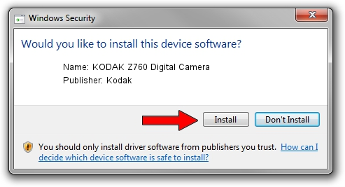 Kodak KODAK Z760 Digital Camera driver installation 1411150