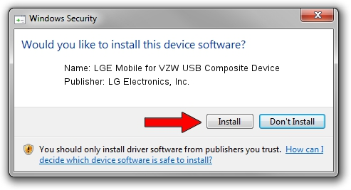 LG Electronics, Inc. LGE Mobile for VZW USB Composite Device driver installation 6333