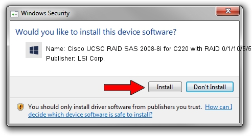 LSI Corp. Cisco UCSC RAID SAS 2008-8i for C220 with RAID 0/1/10/5/50 driver installation 245152