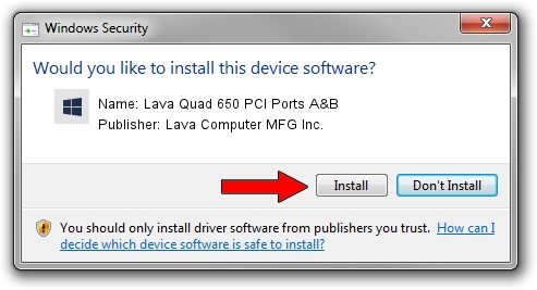 Lava Computer MFG Inc. Lava Quad 650 PCI Ports A&B driver installation 1391701