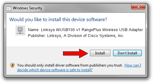 Linksys, A Division of Cisco Systems, Inc. Linksys WUSB100 v1 RangePlus Wireless USB Adapter driver installation 1410566