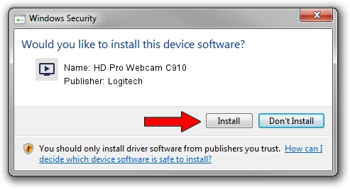 Logitech HD Pro Webcam C910 driver installation 1390415