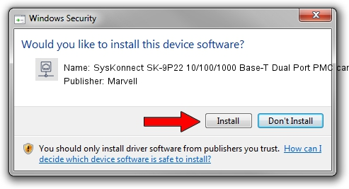 Marvell SysKonnect SK-9P22 10/100/1000 Base-T Dual Port PMC card driver installation 1409420