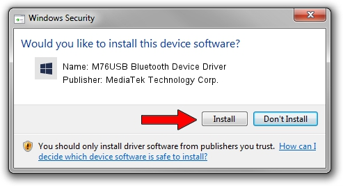 MediaTek Technology Corp. M76USB Bluetooth Device Driver setup file 1639698