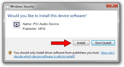 NPG PCI Audio Device driver installation 1395298
