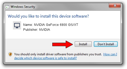 NVIDIA NVIDIA GeForce 6800 GS/XT driver installation 42763