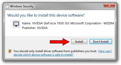 NVIDIA NVIDIA GeForce 7600 GS Microsoft Corporation - WDDM driver installation 1209108