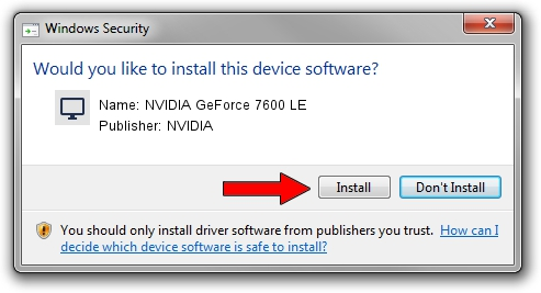 NVIDIA NVIDIA GeForce 7600 LE driver installation 2011639