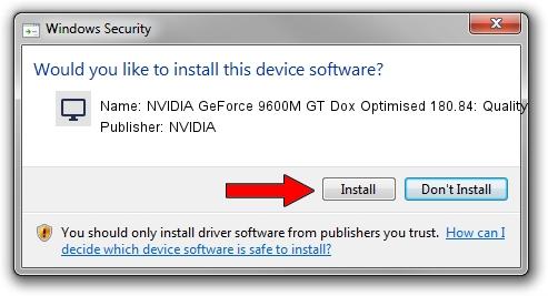 NVIDIA NVIDIA GeForce 9600M GT Dox Optimised 180.84: Quality driver installation 1101650