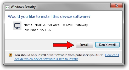 NVIDIA NVIDIA GeForce FX 5200 Gateway driver installation 1438030