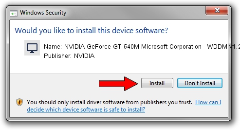 NVIDIA NVIDIA GeForce GT 540M Microsoft Corporation - WDDM v1.2 setup file 1504748