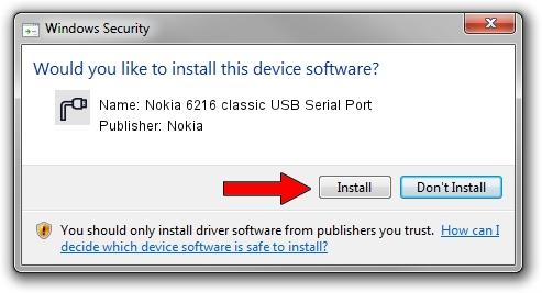 Nokia Nokia 6216 classic USB Serial Port driver installation 1405253