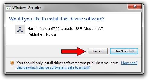 Nokia Nokia 6700 classic USB Modem AT driver installation 1324533