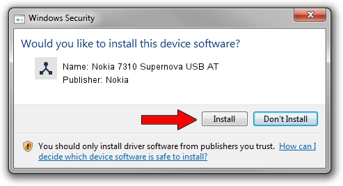 Nokia Nokia 7310 Supernova USB AT driver installation 1932934
