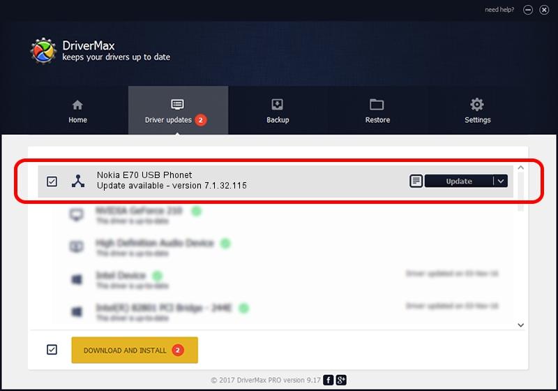 Nokia Nokia E70 USB Phonet driver update 1103686 using DriverMax