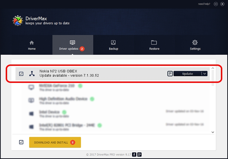 Nokia Nokia N72 USB OBEX driver update 1323680 using DriverMax