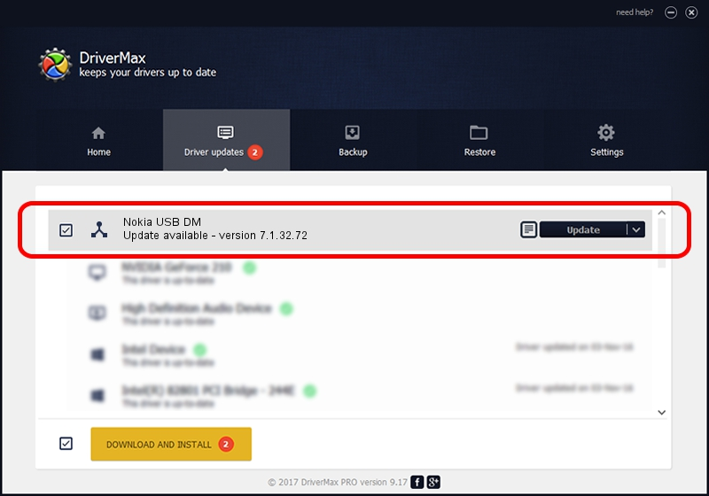Nokia Nokia USB DM driver update 1429884 using DriverMax