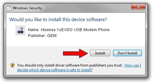 OEM Hisense 1xEVDO USB Modem Phone driver installation 1855911