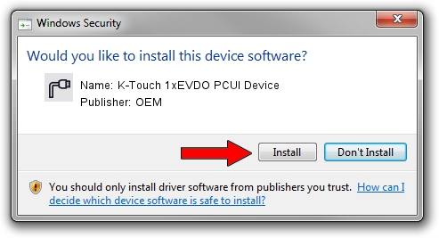 OEM K-Touch 1xEVDO PCUI Device driver installation 1402130