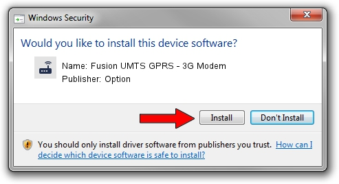 Option Fusion UMTS GPRS - 3G Modem driver installation 2012360