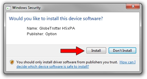 Option GlobeTrotter HSxPA driver installation 1432962