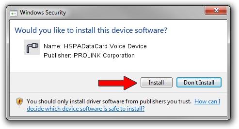 PROLiNK Corporation HSPADataCard Voice Device driver installation 1426913